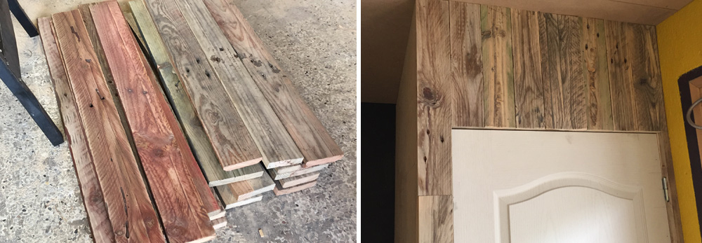Reclaimed wood from old pallets